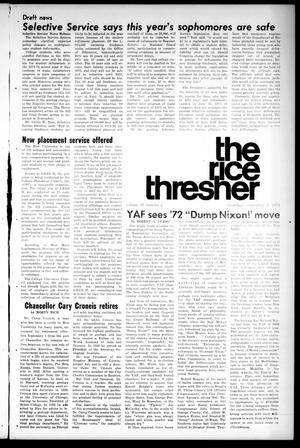 Primary view of object titled 'The Rice Thresher (Houston, Tex.), Vol. 59, No. 2, Ed. 1 Thursday, September 9, 1971'.