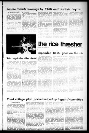 Primary view of object titled 'The Rice Thresher (Houston, Tex.), Vol. 59, No. 3, Ed. 1 Thursday, September 16, 1971'.