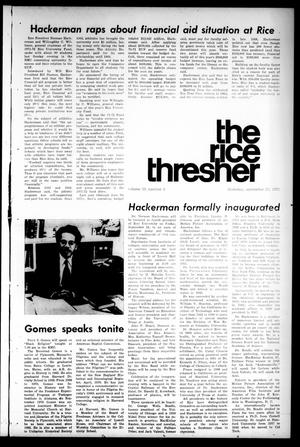 Primary view of object titled 'The Rice Thresher (Houston, Tex.), Vol. 59, No. 4, Ed. 1 Thursday, September 23, 1971'.