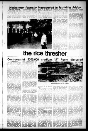 Primary view of object titled 'The Rice Thresher (Houston, Tex.), Vol. 59, No. 5, Ed. 1 Thursday, September 30, 1971'.