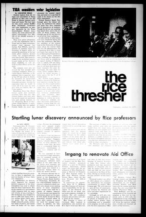 Primary view of object titled 'The Rice Thresher (Houston, Tex.), Vol. 59, No. 7, Ed. 1 Thursday, October 21, 1971'.