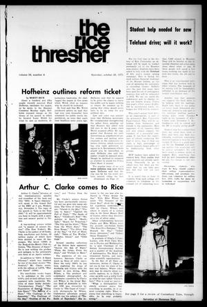 Primary view of object titled 'The Rice Thresher (Houston, Tex.), Vol. 59, No. 8, Ed. 1 Thursday, October 28, 1971'.