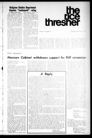 Primary view of object titled 'The Rice Thresher (Houston, Tex.), Vol. 59, No. 9, Ed. 1 Thursday, November 4, 1971'.