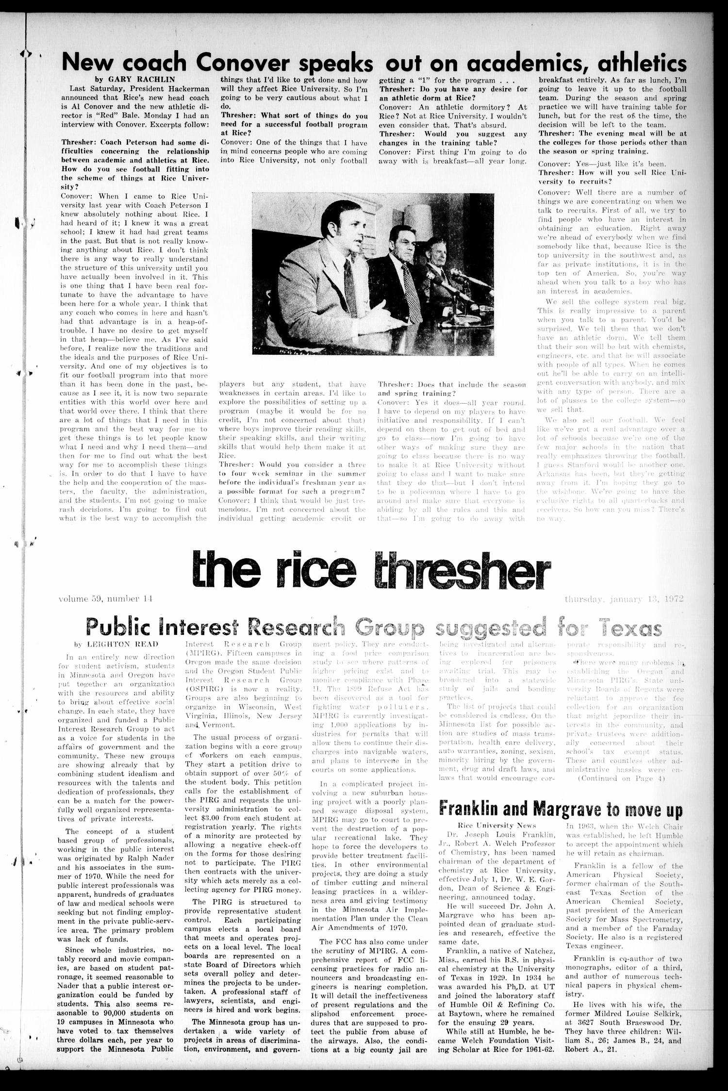 The Rice Thresher (Houston, Tex.), Vol. 59, No. 14, Ed. 1 Thursday, January 13, 1972                                                                                                      [Sequence #]: 1 of 4