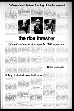 Primary view of object titled 'The Rice Thresher (Houston, Tex.), Vol. 59, No. 22, Ed. 1 Thursday, March 16, 1972'.