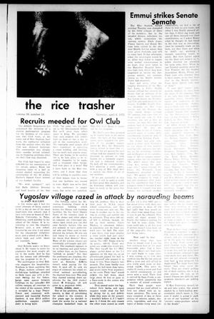Primary view of object titled 'The Rice Thresher (Houston, Tex.), Vol. 59, No. 24, Ed. 1 Thursday, April 6, 1972'.
