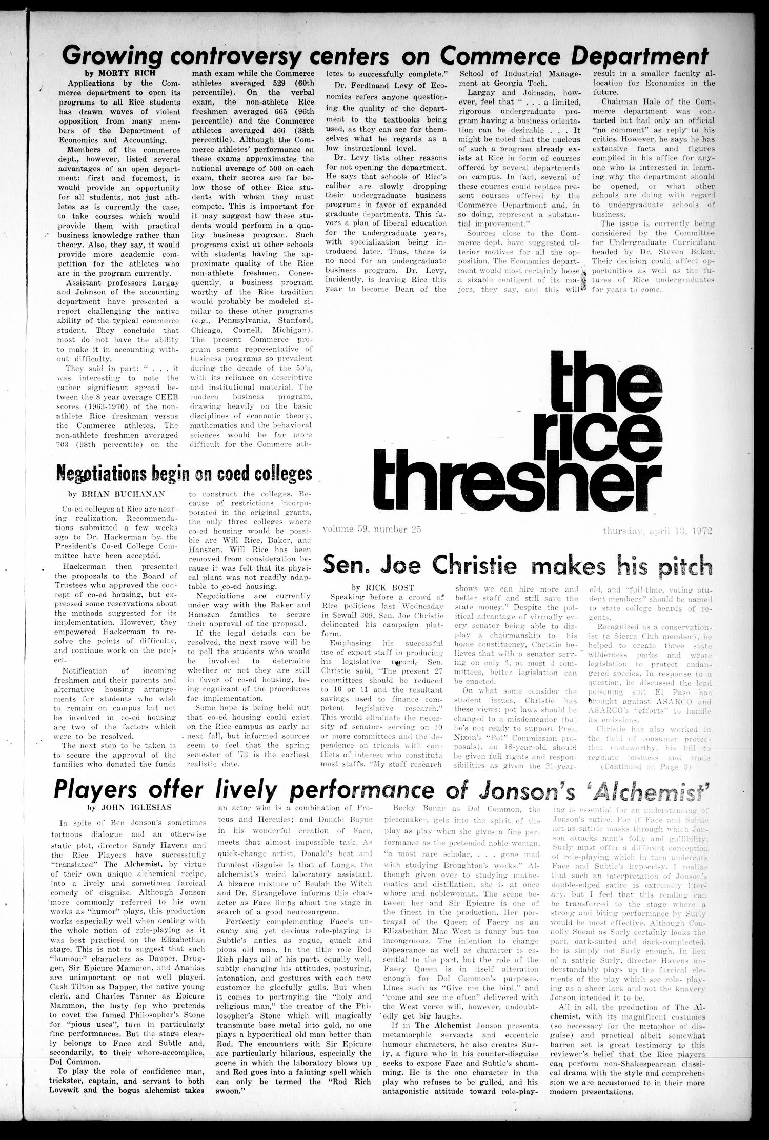 The Rice Thresher (Houston, Tex.), Vol. 59, No. 25, Ed. 1 Thursday, April 13, 1972                                                                                                      [Sequence #]: 1 of 8
