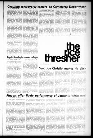 Primary view of object titled 'The Rice Thresher (Houston, Tex.), Vol. 59, No. 25, Ed. 1 Thursday, April 13, 1972'.