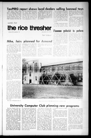 Primary view of object titled 'The Rice Thresher (Houston, Tex.), Vol. 60, No. 14, Ed. 1 Thursday, November 30, 1972'.