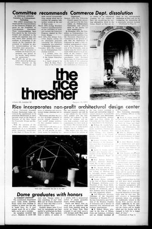Primary view of object titled 'The Rice Thresher (Houston, Tex.), Vol. 60, No. 16, Ed. 1 Thursday, January 11, 1973'.