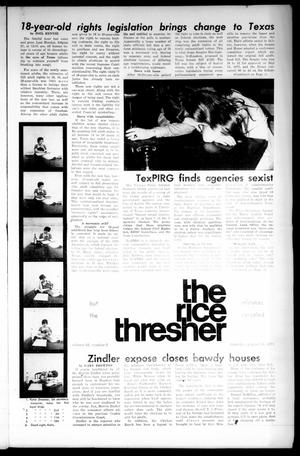 Primary view of object titled 'The Rice Thresher (Houston, Tex.), Vol. 61, No. 2, Ed. 1 Thursday, August 30, 1973'.