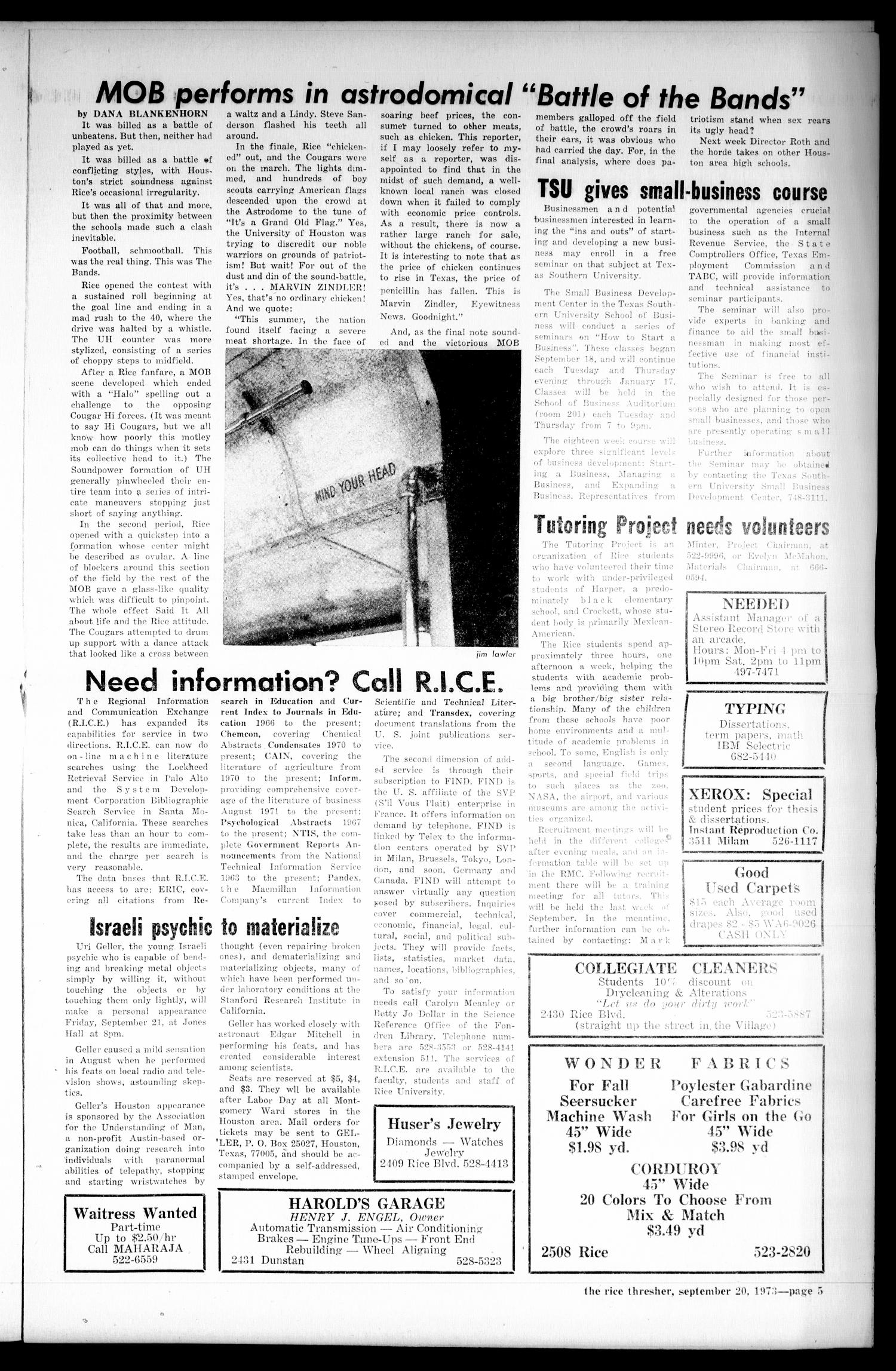The Rice Thresher (Houston, Tex.), Vol. 61, No. 5, Ed. 1 Thursday, September 20, 1973                                                                                                      [Sequence #]: 5 of 12
