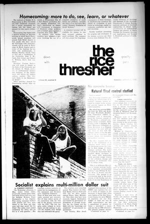 Primary view of object titled 'The Rice Thresher (Houston, Tex.), Vol. 61, No. 8, Ed. 1 Thursday, October 11, 1973'.