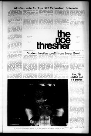 Primary view of object titled 'The Rice Thresher (Houston, Tex.), Vol. 61, No. 17, Ed. 1 Thursday, January 17, 1974'.