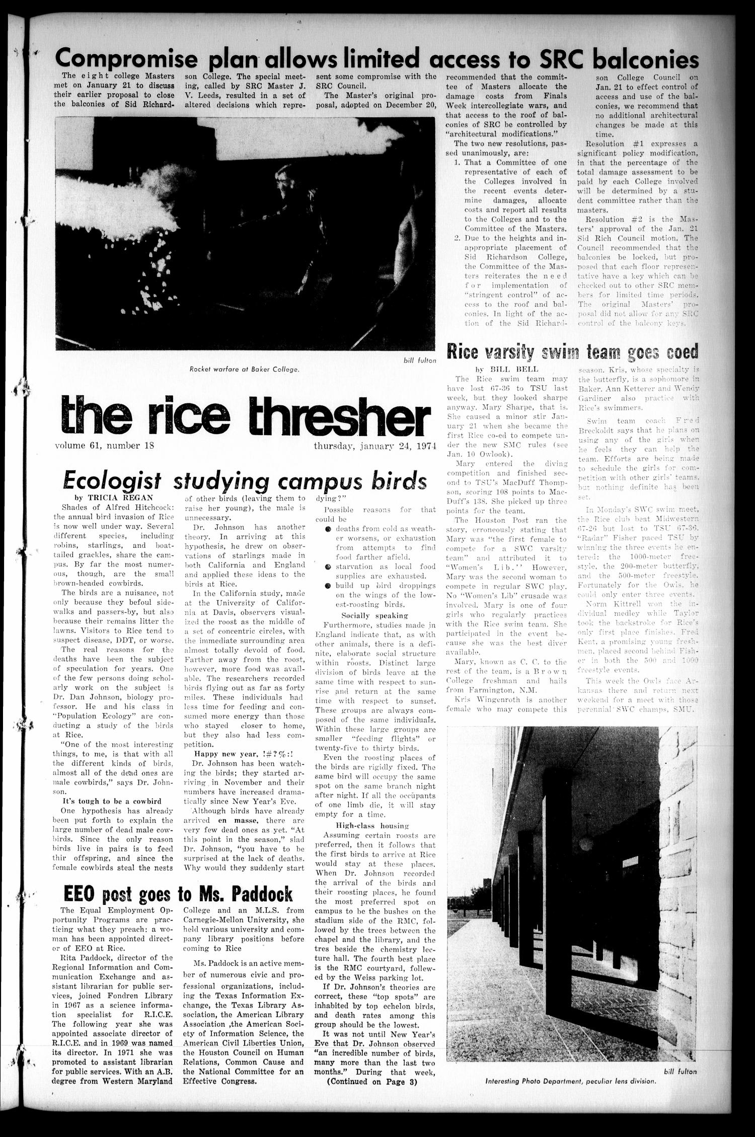 The Rice Thresher (Houston, Tex.), Vol. 61, No. 18, Ed. 1 Thursday, January 24, 1974                                                                                                      [Sequence #]: 1 of 8