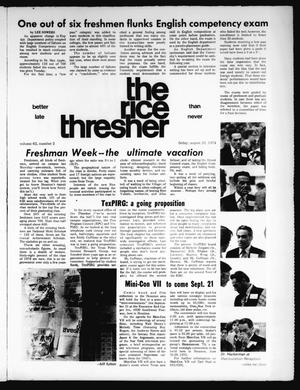 Primary view of object titled 'The Rice Thresher (Houston, Tex.), Vol. 62, No. 2, Ed. 1 Friday, August 23, 1974'.