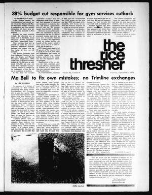 Primary view of object titled 'The Rice Thresher (Houston, Tex.), Vol. 62, No. 4, Ed. 1 Thursday, September 5, 1974'.