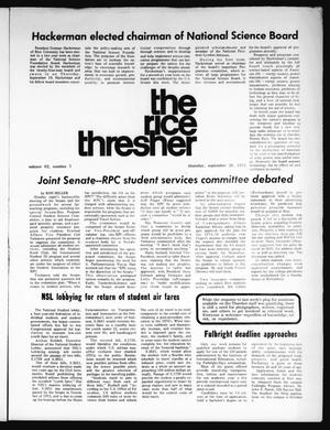 Primary view of object titled 'The Rice Thresher (Houston, Tex.), Vol. 62, No. 7, Ed. 1 Thursday, September 26, 1974'.