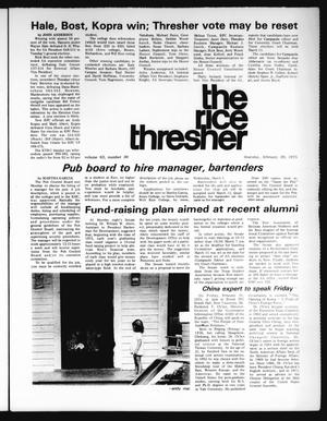 Primary view of object titled 'The Rice Thresher (Houston, Tex.), Vol. 62, No. 30, Ed. 1 Thursday, February 20, 1975'.