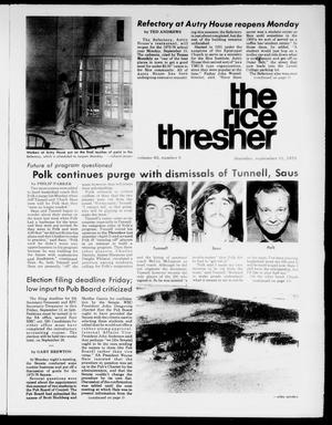 Primary view of object titled 'The Rice Thresher (Houston, Tex.), Vol. 63, No. 8, Ed. 1 Thursday, September 11, 1975'.