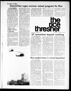 Primary view of object titled 'The Rice Thresher (Houston, Tex.), Vol. 63, No. 15, Ed. 1 Monday, October 6, 1975'.