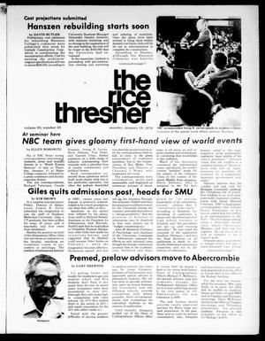 Primary view of object titled 'The Rice Thresher (Houston, Tex.), Vol. 63, No. 33, Ed. 1 Monday, January 19, 1976'.