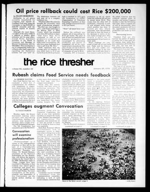Primary view of object titled 'The Rice Thresher (Houston, Tex.), Vol. 63, No. 36, Ed. 1 Thursday, January 29, 1976'.