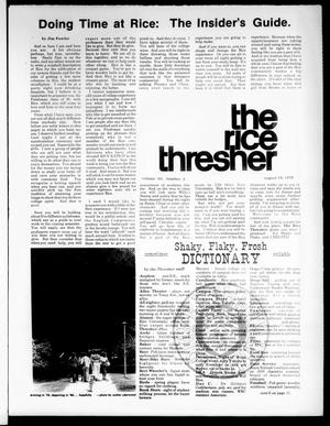 Primary view of object titled 'The Rice Thresher (Houston, Tex.), Vol. 64, No. 2, Ed. 1 Thursday, August 19, 1976'.