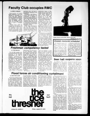 Primary view of object titled 'The Rice Thresher (Houston, Tex.), Vol. 64, No. 4, Ed. 1 Friday, August 27, 1976'.