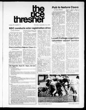 The Rice Thresher (Houston, Tex.), Vol. 64, No. 11, Ed. 1 Thursday, September 23, 1976