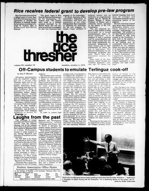 Primary view of object titled 'The Rice Thresher (Houston, Tex.), Vol. 64, No. 12, Ed. 1 Monday, October 4, 1976'.