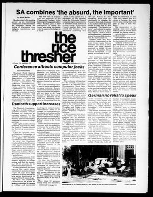 Primary view of object titled 'The Rice Thresher (Houston, Tex.), Vol. 64, No. 15, Ed. 1 Thursday, October 21, 1976'.