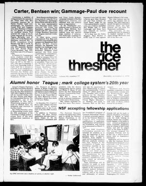 Primary view of object titled 'The Rice Thresher (Houston, Tex.), Vol. 64, No. 17, Ed. 1 Thursday, November 4, 1976'.