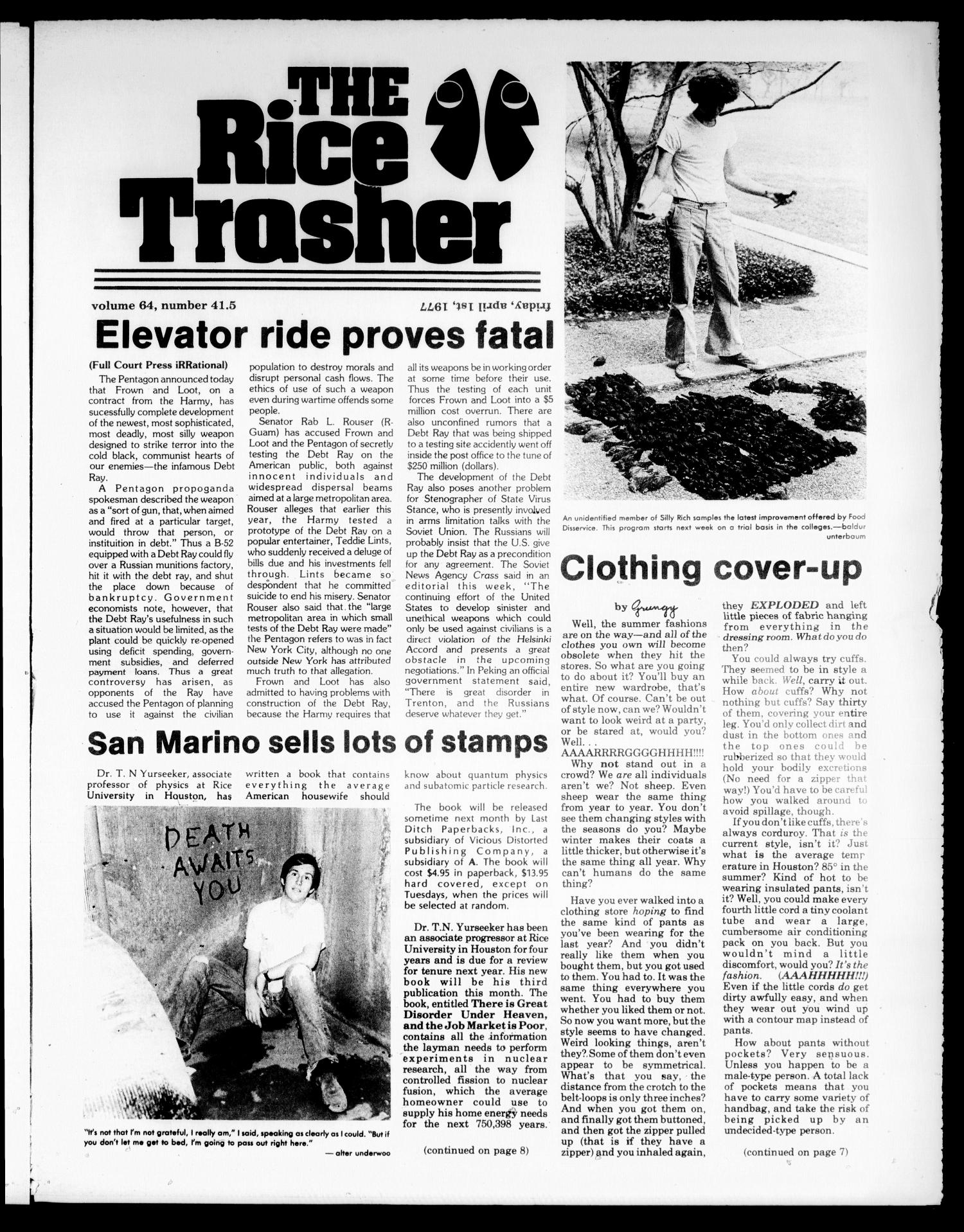 The Rice Thresher (Houston, Tex.), Vol. 64, No. 41.5, Ed. 1 Friday, April 1, 1977                                                                                                      [Sequence #]: 1 of 8