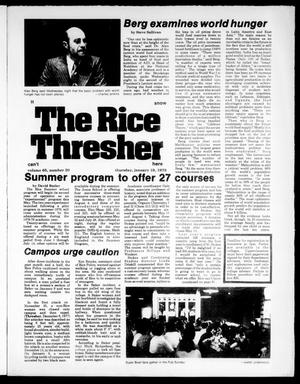 Primary view of object titled 'The Rice Thresher (Houston, Tex.), Vol. 65, No. 20, Ed. 1 Thursday, January 19, 1978'.