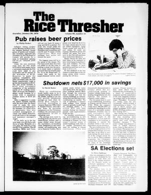 Primary view of object titled 'The Rice Thresher (Houston, Tex.), Vol. 65, No. 21, Ed. 1 Thursday, January 26, 1978'.
