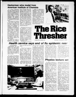 Primary view of object titled 'The Rice Thresher (Houston, Tex.), Vol. 65, No. 22, Ed. 1 Thursday, February 2, 1978'.