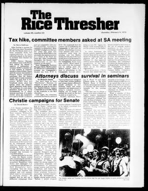 Primary view of object titled 'The Rice Thresher (Houston, Tex.), Vol. 65, No. 23, Ed. 1 Thursday, February 9, 1978'.
