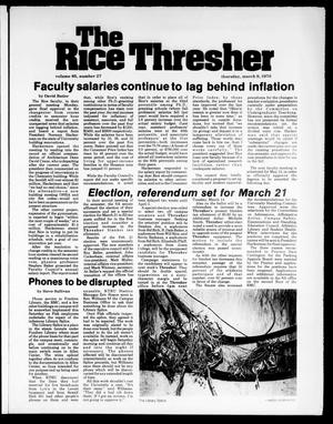 Primary view of object titled 'The Rice Thresher (Houston, Tex.), Vol. 65, No. 27, Ed. 1 Thursday, March 9, 1978'.