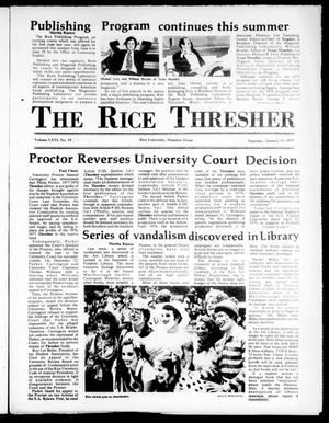 Primary view of object titled 'The Rice Thresher (Houston, Tex.), Vol. 66, No. 20, Ed. 1 Thursday, January 18, 1979'.