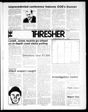 Primary view of object titled 'The Rice Thresher (Houston, Tex.), Vol. 67, No. 23, Ed. 1 Thursday, February 7, 1980'.
