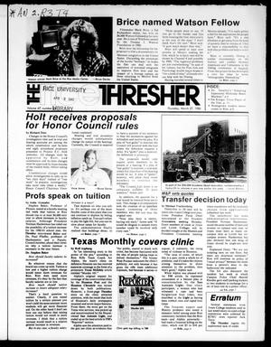 Primary view of object titled 'The Rice Thresher (Houston, Tex.), Vol. 67, No. 29, Ed. 1 Thursday, March 27, 1980'.