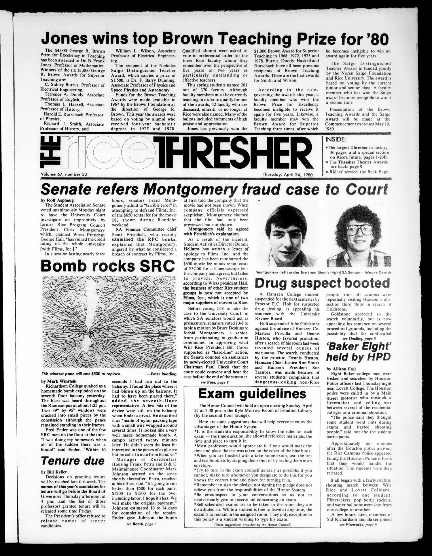 The Rice Thresher (Houston, Tex.), Vol. 67, No. 33, Ed. 1 Thursday, April 24, 1980                                                                                                      [Sequence #]: 1 of 16