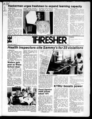 Primary view of object titled 'The Rice Thresher (Houston, Tex.), Vol. 68, No. 3, Ed. 1 Friday, August 22, 1980'.