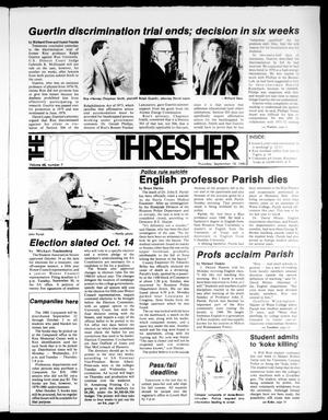 Primary view of object titled 'The Rice Thresher (Houston, Tex.), Vol. 68, No. 7, Ed. 1 Thursday, September 18, 1980'.