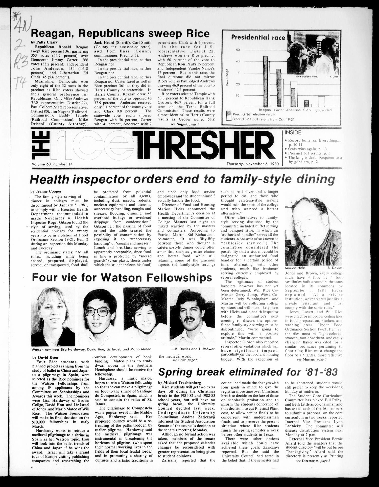 The Rice Thresher (Houston, Tex.), Vol. 68, No. 14, Ed. 1 Thursday, November 6, 1980                                                                                                      [Sequence #]: 1 of 20