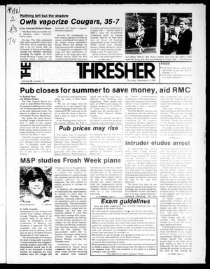 Primary view of object titled 'The Rice Thresher (Houston, Tex.), Vol. 68, No. 17, Ed. 1 Thursday, December 4, 1980'.