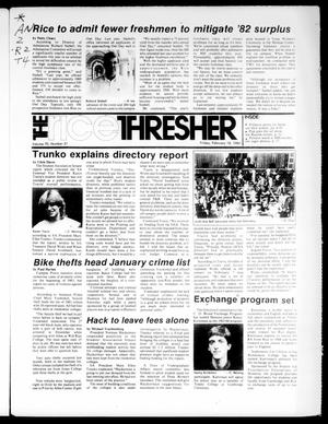 Primary view of object titled 'The Rice Thresher (Houston, Tex.), Vol. 70, No. 21, Ed. 1 Friday, February 18, 1983'.