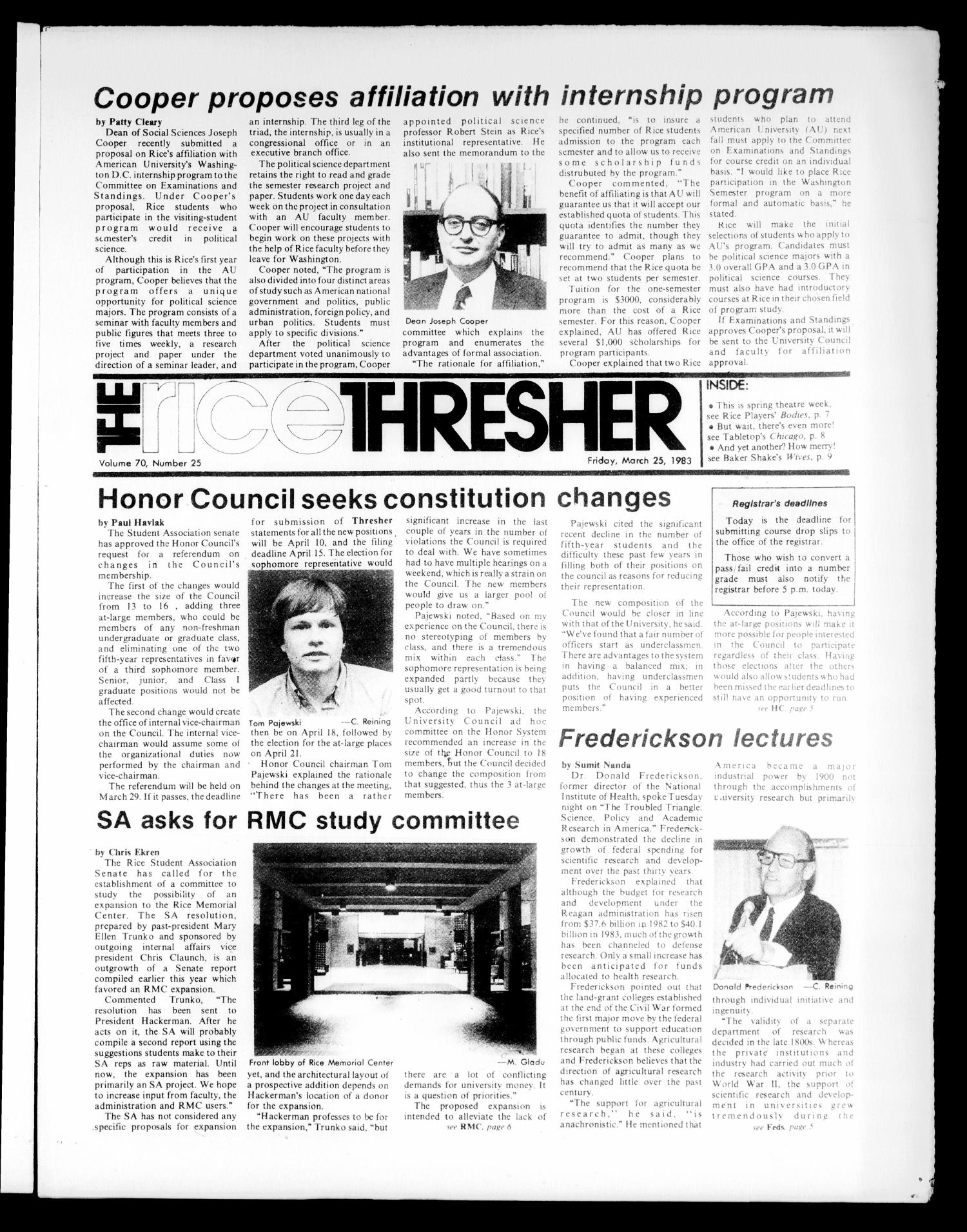 The Rice Thresher (Houston, Tex.), Vol. 70, No. 25, Ed. 1 Friday, March 25, 1983                                                                                                      [Sequence #]: 1 of 16