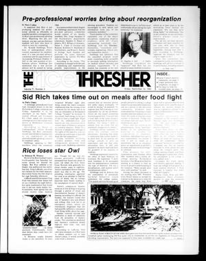 Primary view of object titled 'The Rice Thresher (Houston, Tex.), Vol. 71, No. 5, Ed. 1 Friday, September 16, 1983'.